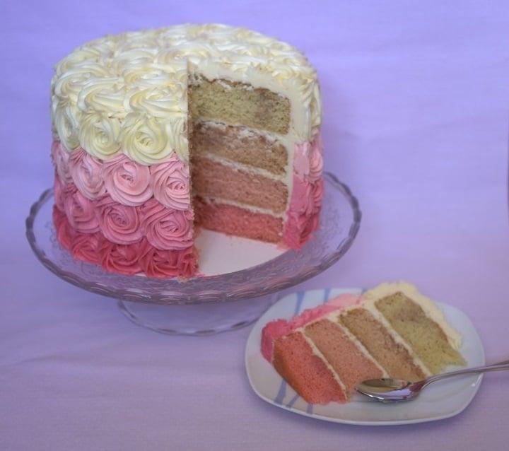 Tarta con rosas degradada